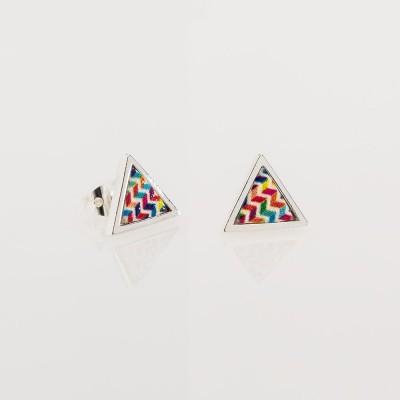 pendientes nelumbo mini triángulo twiggy pendientes piel y plata moda slow fashion