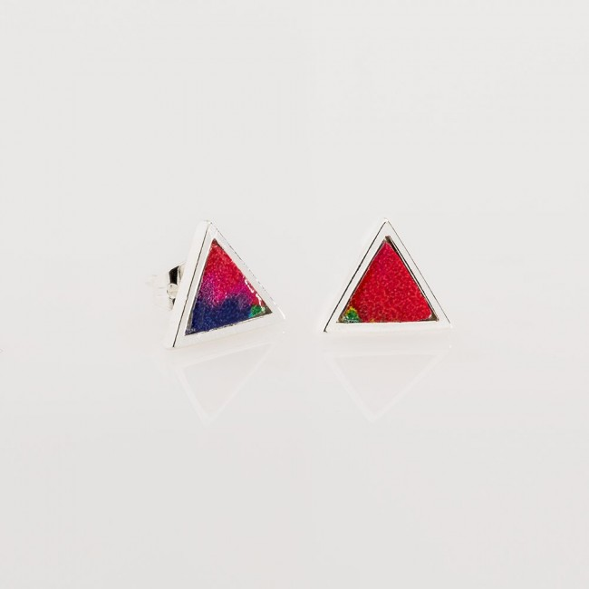 pendientes nelumbo míni triángulo trópico rojo pendientes cuero y plata slow fashion