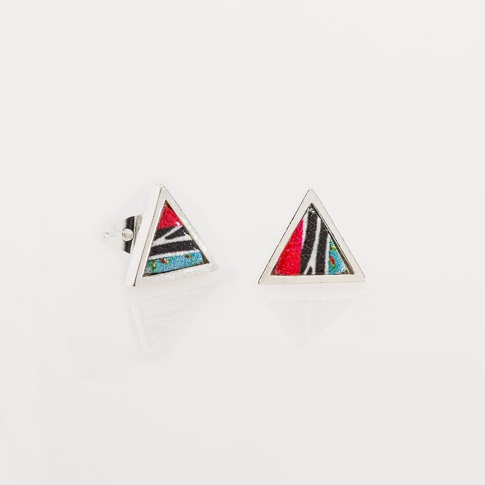 pendientes nelumbo mini triángulos África pendientes de plata y cuero moda sostenible