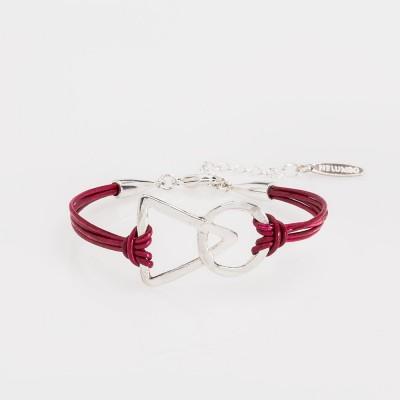 pulsera nelumbo link unión roja pulseras de cuero y plata moda sostenible hecho en España