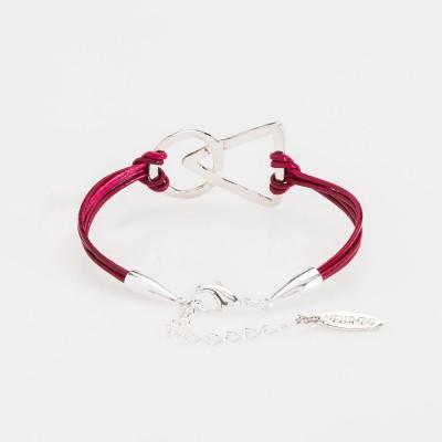 pulsera nelumbo unión link pulseras de cuero y plata roja vista trasera