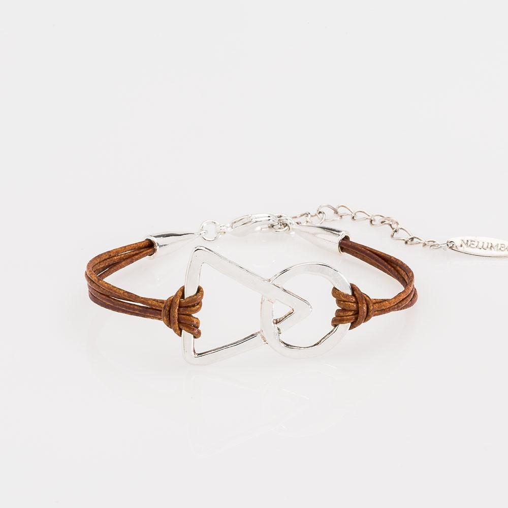 pulsera nelumbo unión link pulseras de cuero y plata marrón  slow fashion artesanía