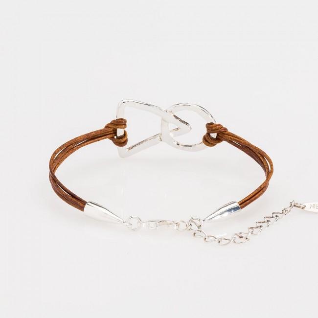 pulsera nelumbo unión link pulseras de cuero y plata marrón vista trasera