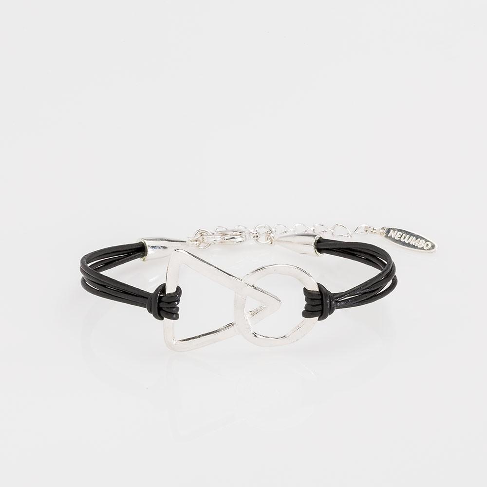 pulsera nelumbo link unión negra pulseras de cuero y plata moda sostenible hecho en España