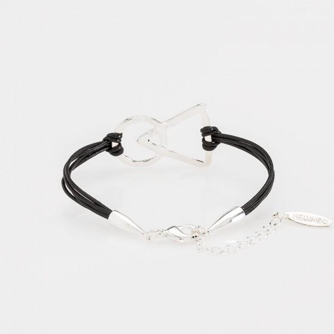 pulsera nelumbo link unión negra pulseras de cuero y plata vista trasera