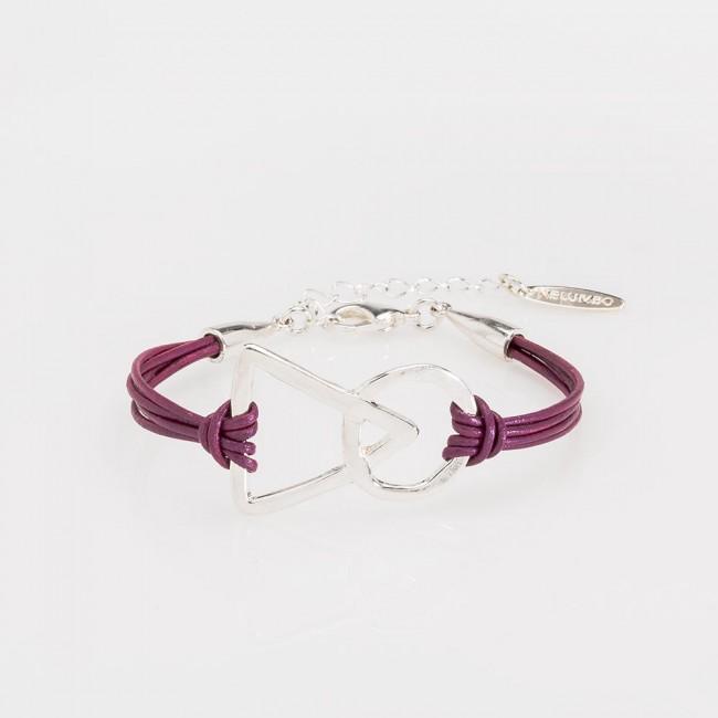 pulsera nelumbo link unión pulseras de cuero y plata morado slow fashion  hecho en España