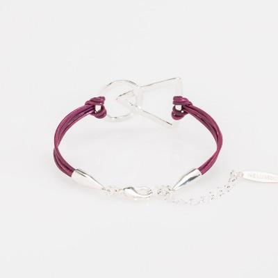 pulsera nelumbo link unión pulseras de cuero y plata morado vista trasera