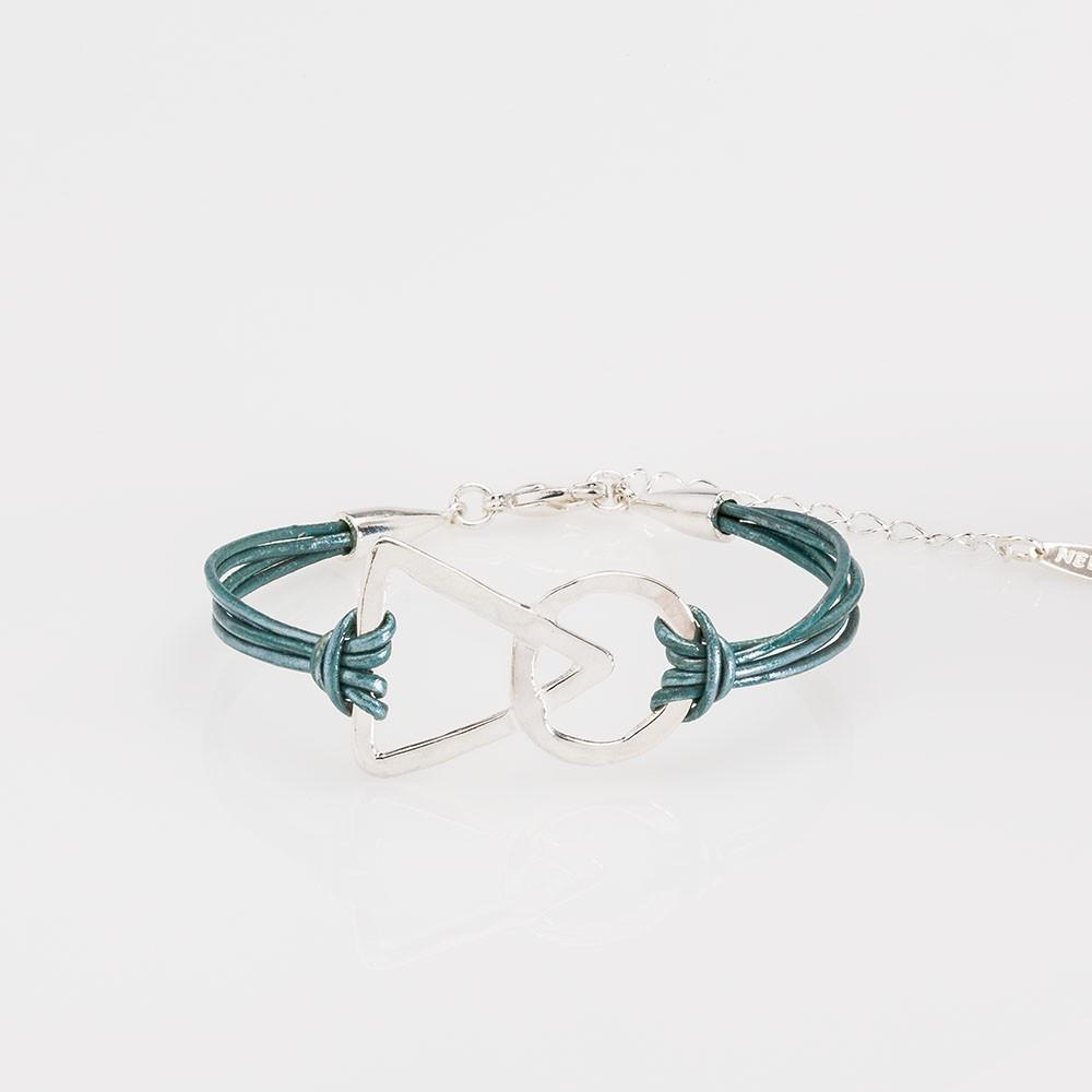 pulsera nelumbo link unión turquesa pulseras de cuero y plata moda sostenible