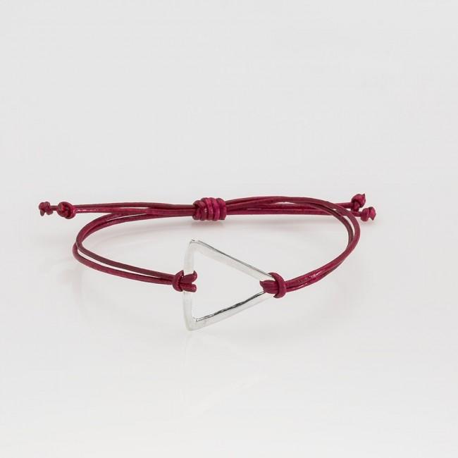 pulsera nelumbo link nudos rojo triángulo pulseras de cuero y plata moda sostenible