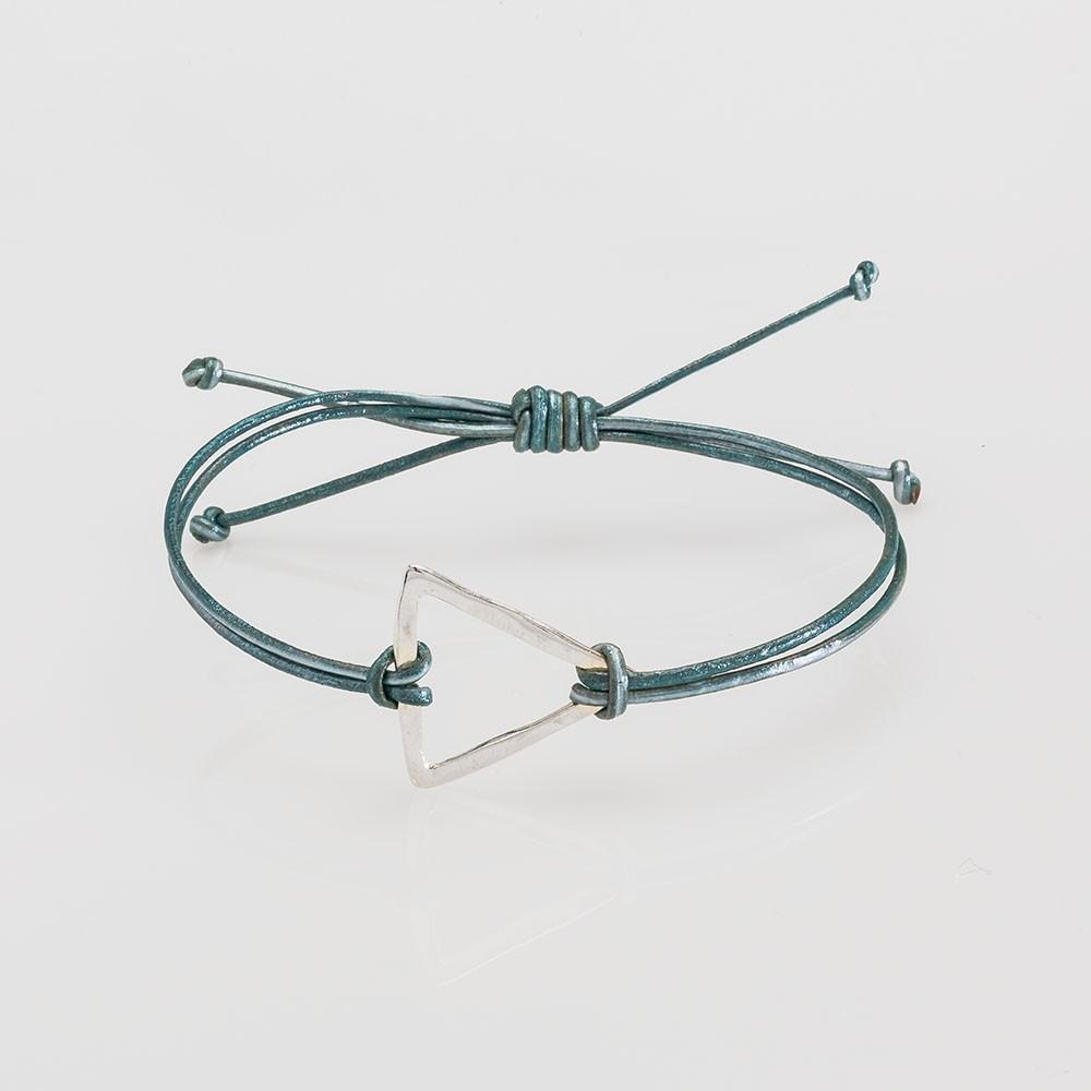 pulsera nelumbo link nudos turquesa triángulo pulseras de cuero y plata