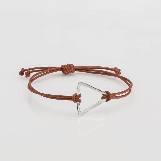 pulsera nelumbo link nudos marrón triángulo pulseras de cuero y plata moda slow fashion artesanía