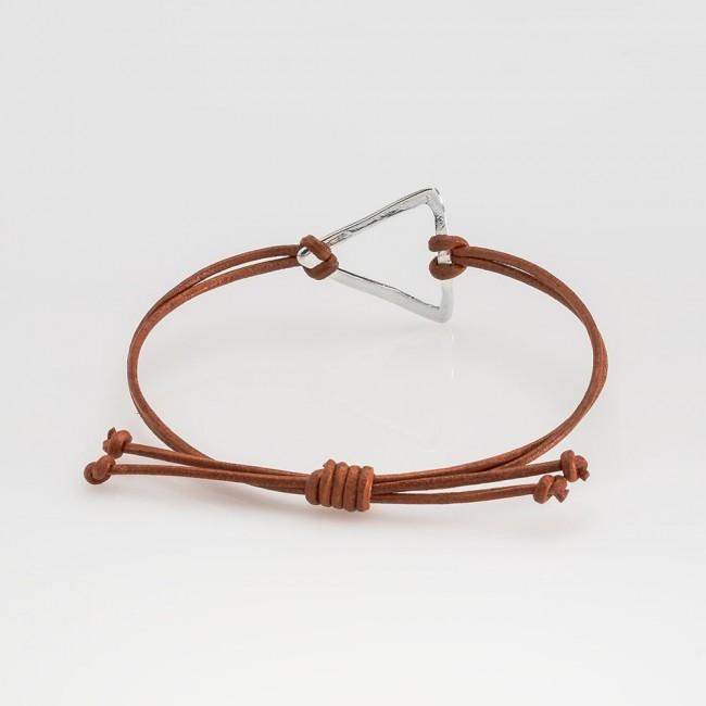 pulsera nelumbo link nudos marrón triángulo pulseras de cuero y plata vista trasera
