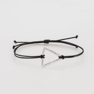 pulsera nelumbo link nudos negra triángulo pulseras de cuero y plata slow fashion artesanía
