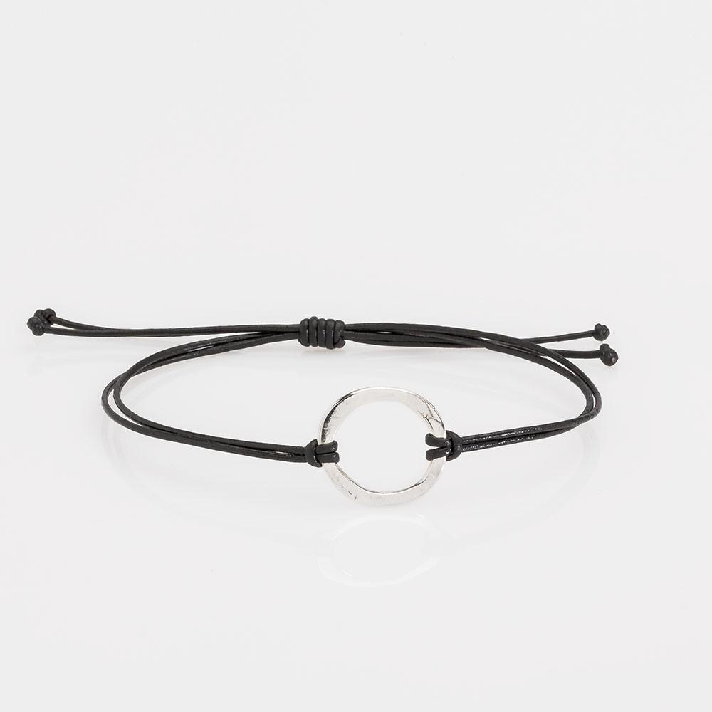 pulsera nelumbo link nudos negro círculo pulseras de cuero y plata moda slow fashion artesanía