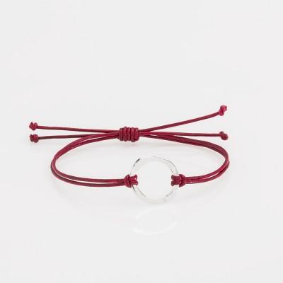 pulsera nelumbo link nudos rojo círculo pulseras de cuero y plata slow fashion hecho en España