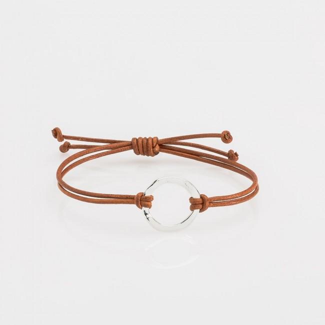 pulsera nelumbo link nudos marrón círculo pulseras de cuero y plata hecho en España