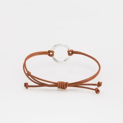 pulsera nelumbo link nudos marrón círculo pulseras de cuero y plata vista trasera