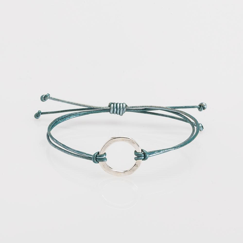 pulsera nelumbo link nudos turquesa círculo pulseras de cuero y plata moda hecho en España