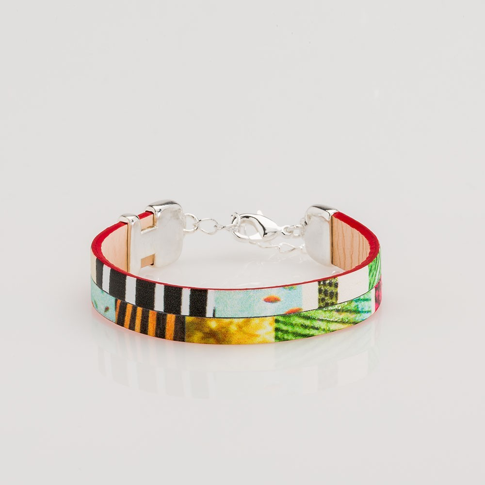 pulsera nelumbo linea bit jungle pulseras de cuero y plata moda sostenible hecho en España