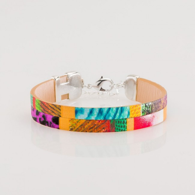 pulsera nelumbo linea bit autum pulseras de cuero y plata hecho en España artesanía moda sostenible