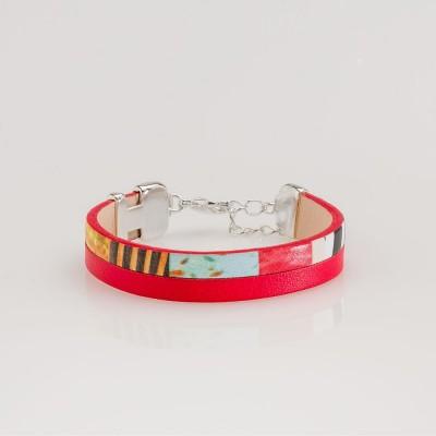 pulsera nelumbo linea bit jungle red pulseras de cuero y plata  artesanía moda sostenible