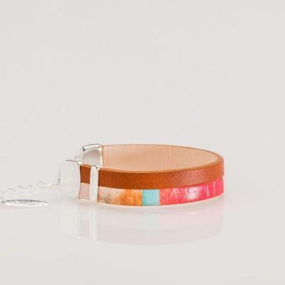 pulsera nelumbo line brown nemo pulseras de cuero y plata vista lateral