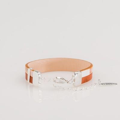 pulsera nelumbo line brown nemo pulseras de cuero y plata vista trasera