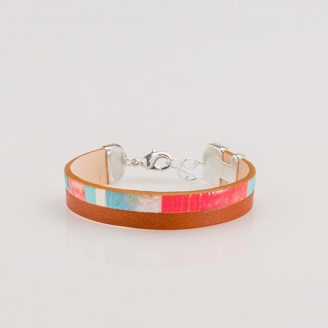 pulsera nelumbo line brown nemo pulseras de cuero y plata moda sostenible hecho en España regalos originales estampado vintage