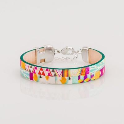 pulsera nelumbo  bit sixties pulseras de cuero y plata hecho en España slow fashion artesanía