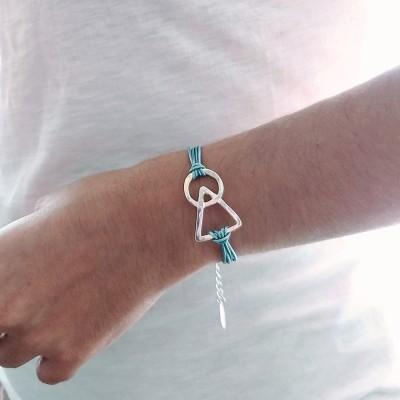 pulsera para tu pareja símbolo del amor de plata con hilos finos turquesa de nelumbo
