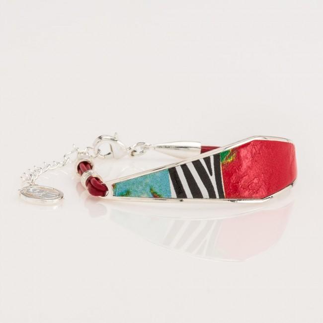 Pulsera Nelumbo Rombo áfrica  pulseras para mujer cuero y plata  artesania hecho en españa slow fashion