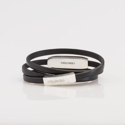 Vista trasera de pulsera Nelumbo vuelta de cuero y plata  hecho en España moda sostenible.