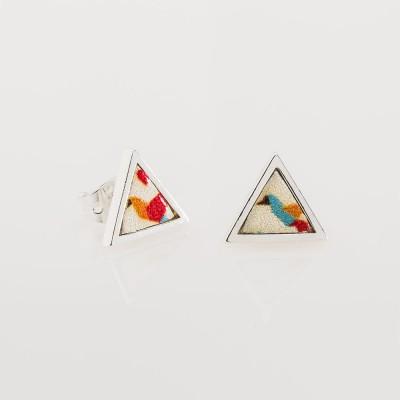 pendientes nelumbo mini triángulo papiro pendientes de cuero y plata slow fashion